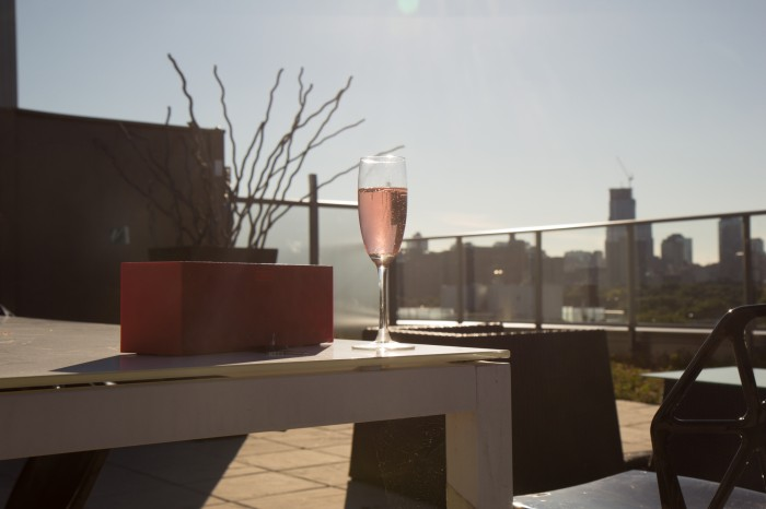 Sparkling wine on a rooftop in Toronto downtown