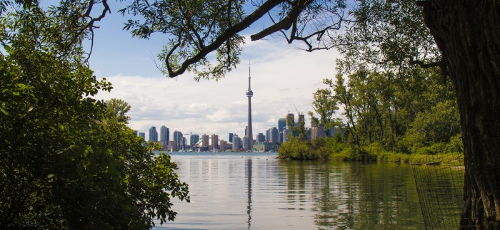 Toronto skyline with CN Tower and nature