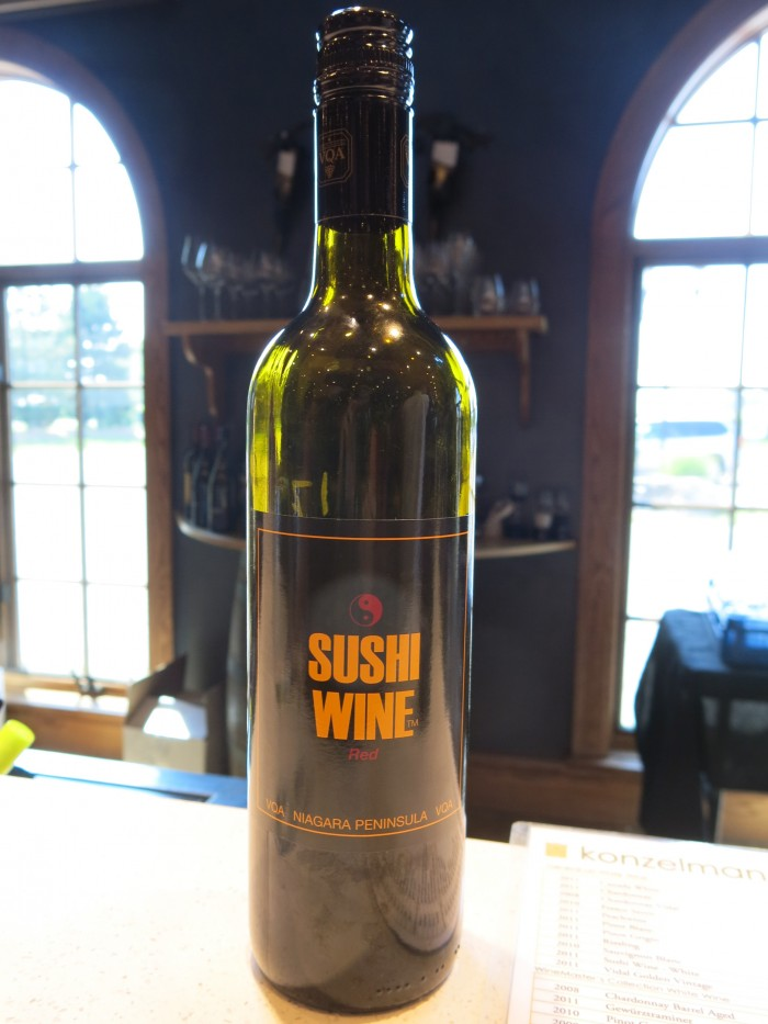 Sushi wine at the vineyard in the Niagara area in Canada