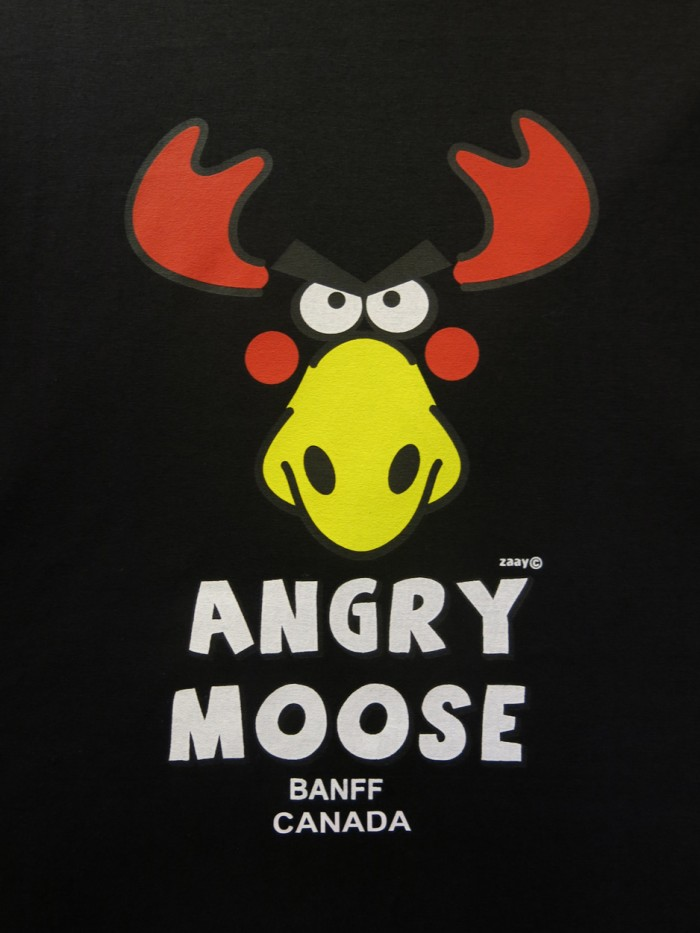 Angry Moose t-shirt in Banff in the Rocky Mountains