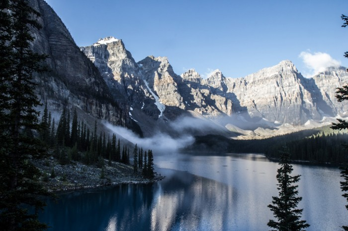 Fog on the Lake Moraine in the Rocky Mountains