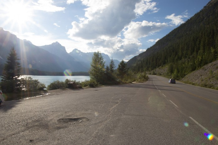 A road trip on the Icefield Parkway in the Rocky Mountains and the sun is shining