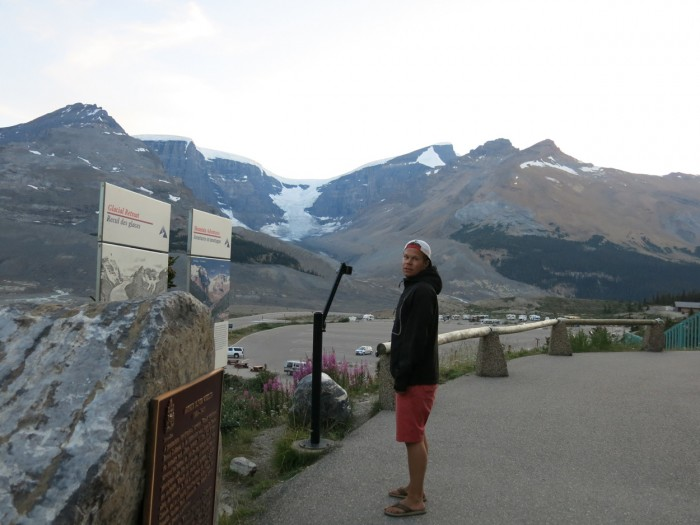 Feeling cold in the shorts in the Columbia Icefield Discovery Centre in the Rocky Mountains
