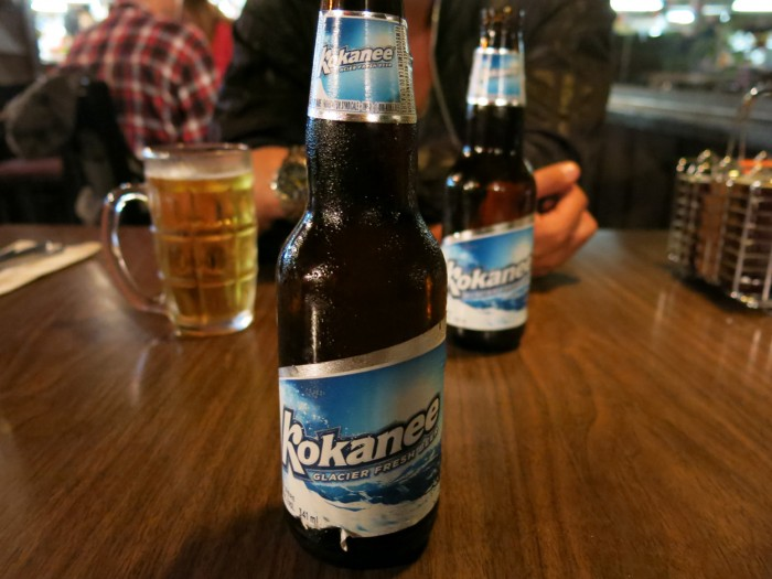 Having Kokanee glacier beer in Jasper in the Rocky Mountains