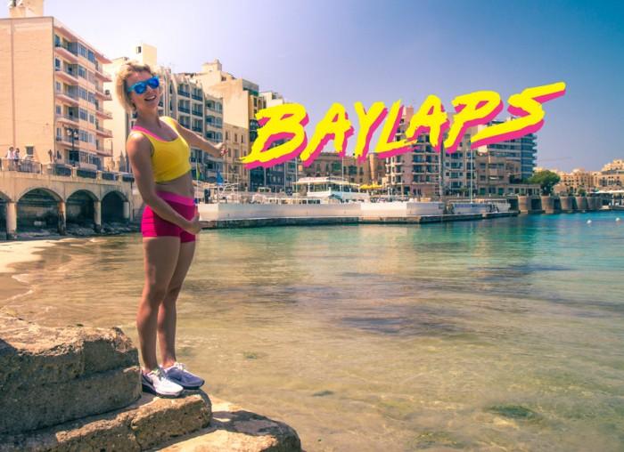 Baylaps swimming school poster, photoshoot in the Balluta Bay in Sliema in Malta