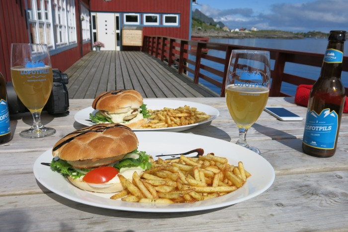 Fish burgers and local beer