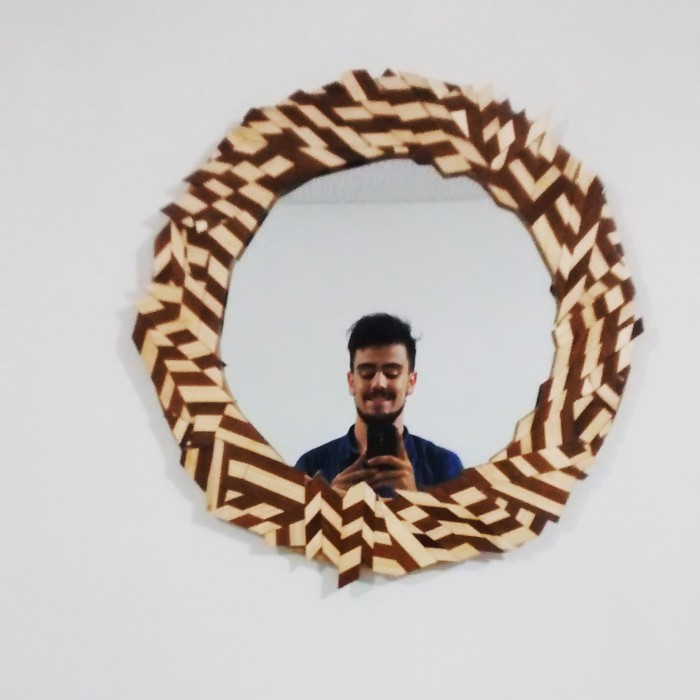 Miguel's mirror selfie on the mirror he made!