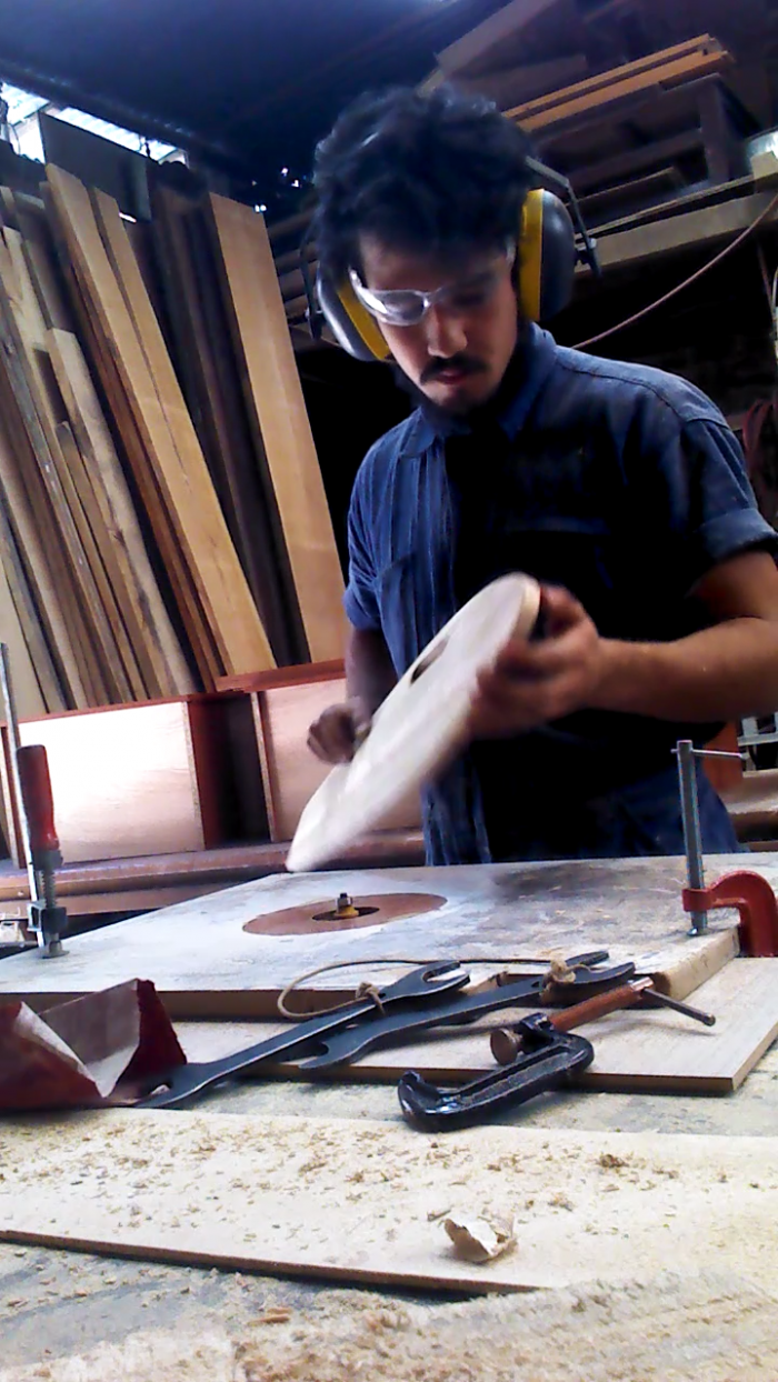 Miguel actualising his passion! Working on wood