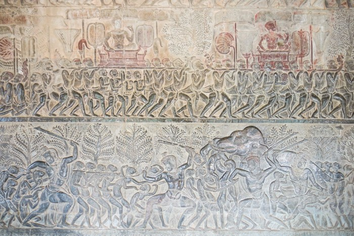 There are interesting and well preserved reliefs at Angkor Wat