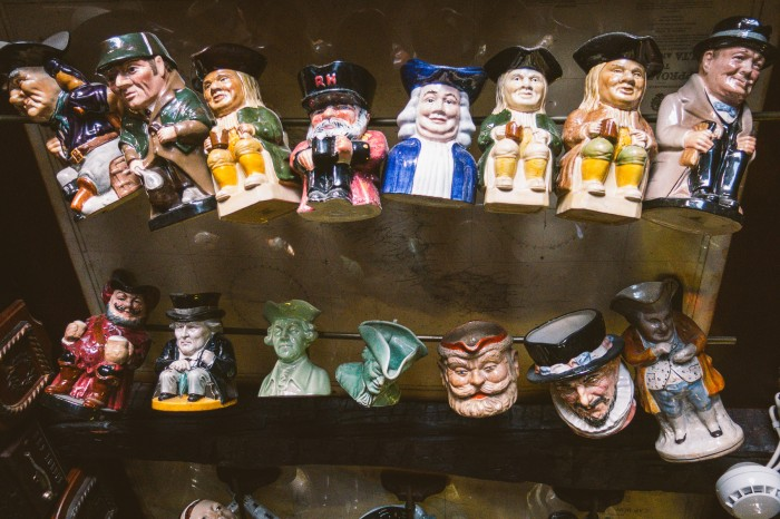 The jugs present famous English figures. Can you spot Churchill?