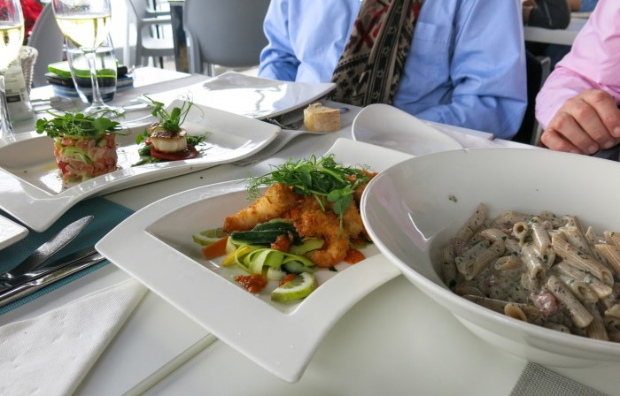 Delicious starters, shrimps and pasta at the Terrace restaurant in Malta