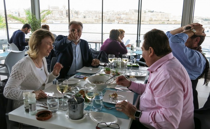 Michael Zammit Tabona and guests having fun at business lunch at the Terrace restaurant in Malta