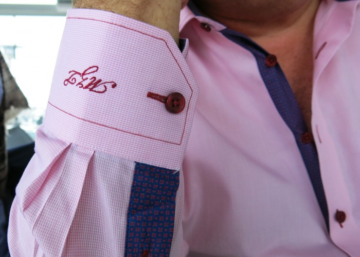 The pink shirt of Michael Zammit Tabona with his initials