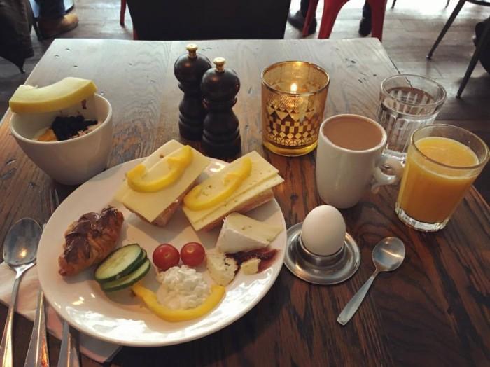 Hotel breakfast in French style