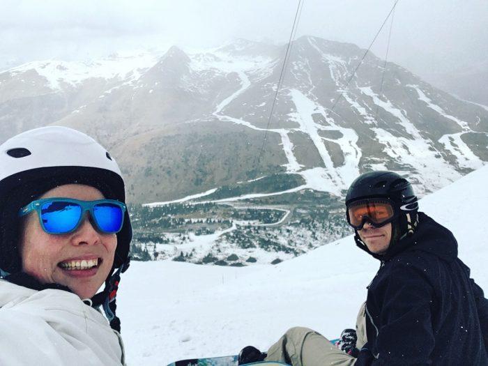 Snowboarders in Ponte di Legno at Italian Alps