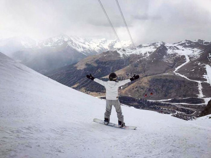 Snowboarding on the top of the world