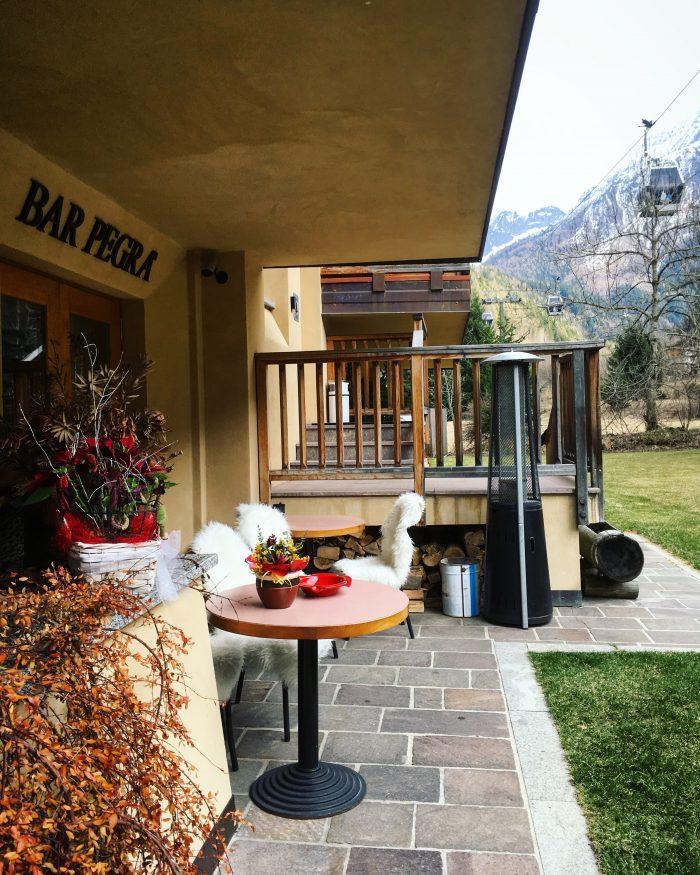 Garni Pegra hotel's terrace in Ponte di Legno