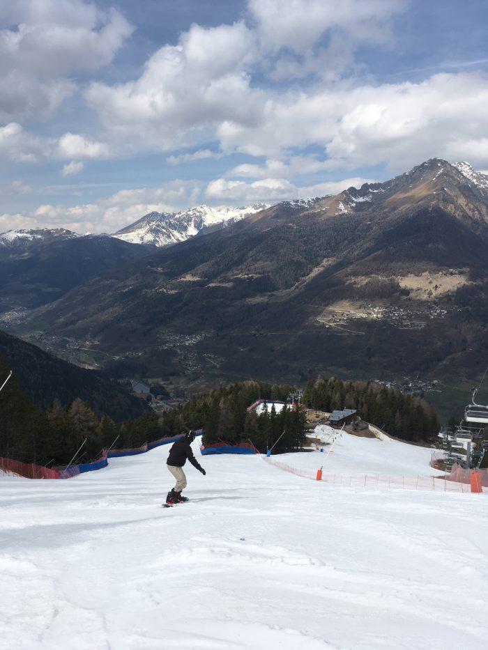 Snowboarding in Ponte di Legno at Italian Alps