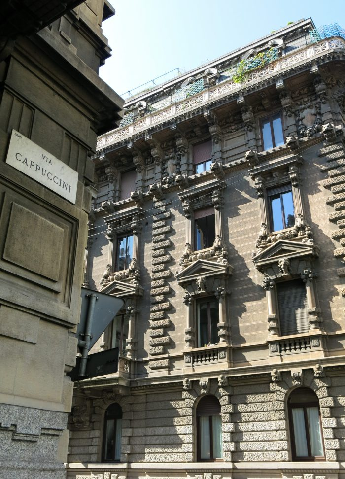 Cappucino street in Milan