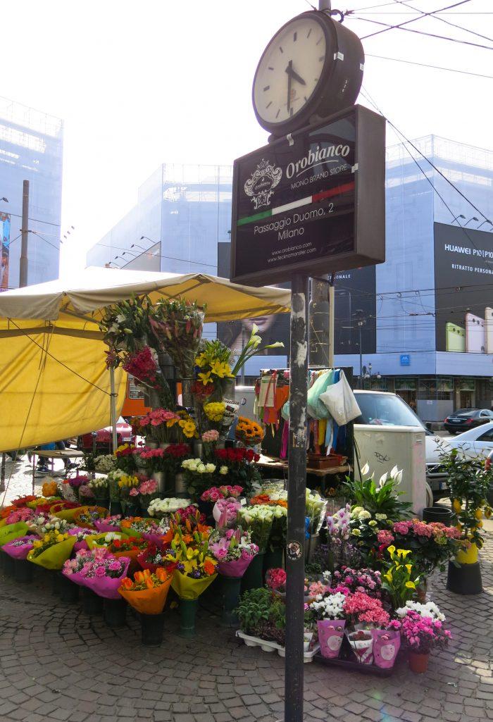A street flower store in Milan